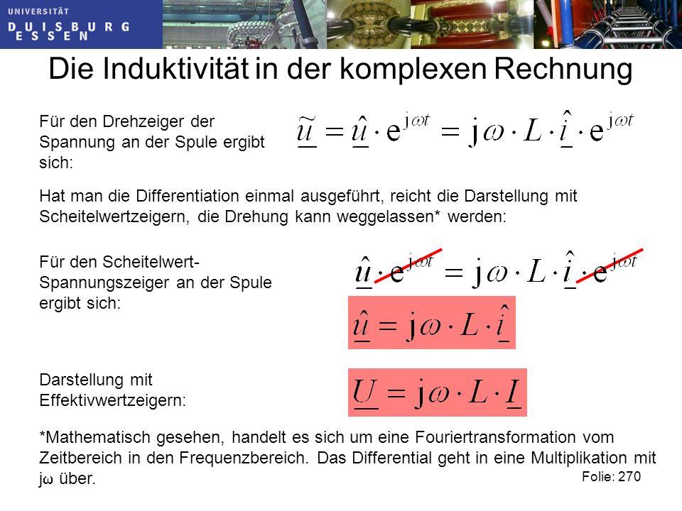 Die Induktivität in der komplexen Rechnung Folie: 270 Für den Drehzeiger der Spannung an der Spule ergibt sich: Hat man die Differentiation einmal ausgeführt, reicht die Darstellung mit Scheitelwertzeigern, die Drehung kann weggelassen* werden: *Mathematisch gesehen, handelt es sich um eine Fouriertransformation vom Zeitbereich in den Frequenzbereich.