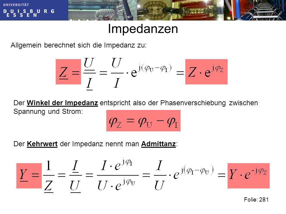 Impedanzen Folie: 281 Allgemein berechnet sich die Impedanz zu: Der Winkel der Impedanz entspricht also der Phasenverschiebung zwischen Spannung und Strom: Der Kehrwert der Impedanz nennt man Admittanz: