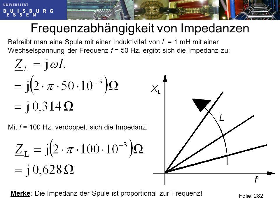 Frequenzabhängigkeit von Impedanzen Folie: 282 Betreibt man eine Spule mit einer Induktivität von L = 1 mH mit einer Wechselspannung der Frequenz f = 50 Hz, ergibt sich die Impedanz zu: Mit f = 100 Hz, verdoppelt sich die Impedanz: Merke: Die Impedanz der Spule ist proportional zur Frequenz!