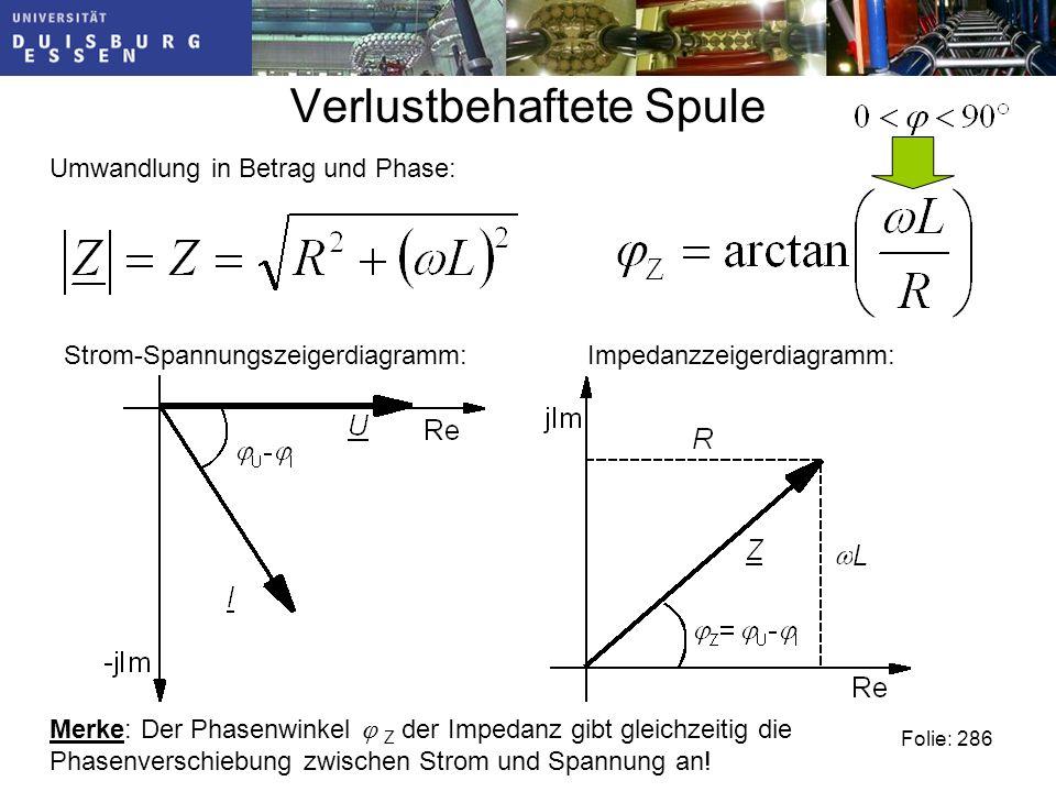 Verlustbehaftete Spule Folie: 286 Umwandlung in Betrag und Phase: Merke: Der Phasenwinkel Z der Impedanz gibt gleichzeitig die Phasenverschiebung zwischen Strom und Spannung an.