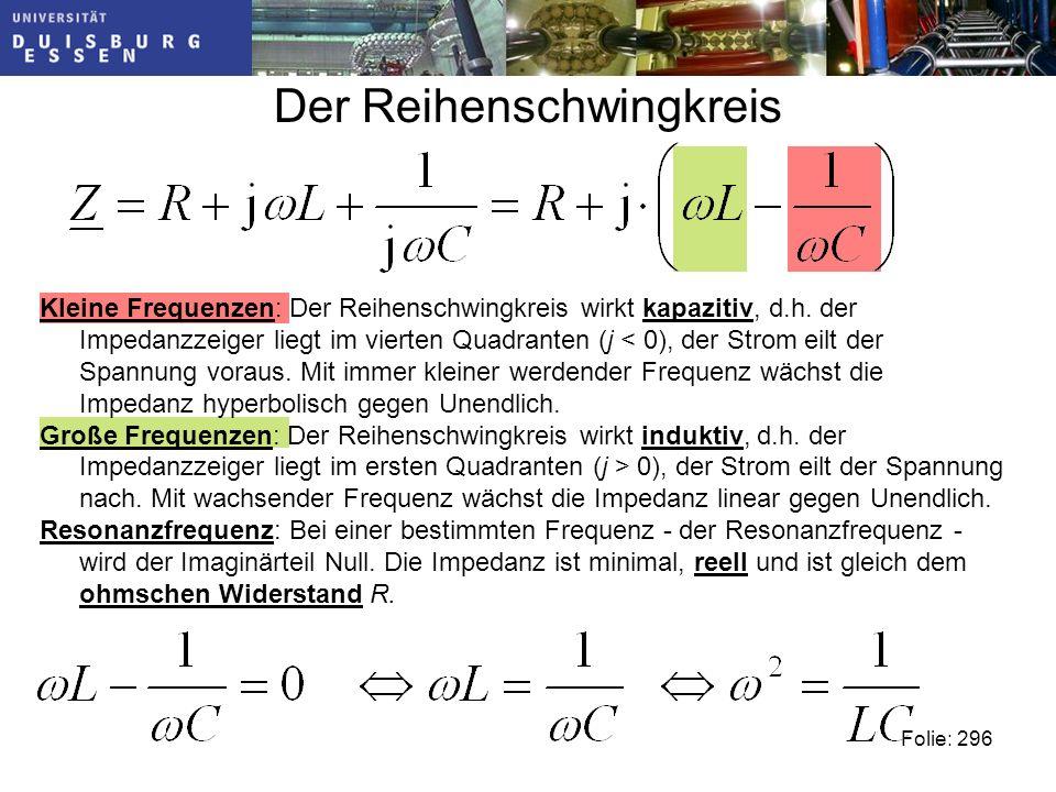 Der Reihenschwingkreis Folie: 296 Kleine Frequenzen: Der Reihenschwingkreis wirkt kapazitiv, d.h.