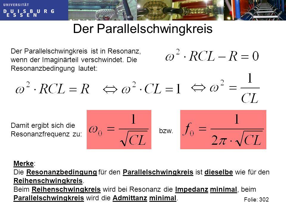 Der Parallelschwingkreis Folie: 302 Der Parallelschwingkreis ist in Resonanz, wenn der Imaginärteil verschwindet.