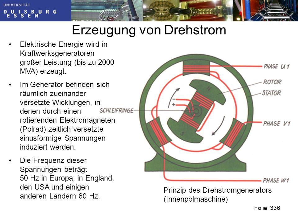 Erzeugung von Drehstrom Elektrische Energie wird in Kraftwerksgeneratoren großer Leistung (bis zu 2000 MVA) erzeugt.