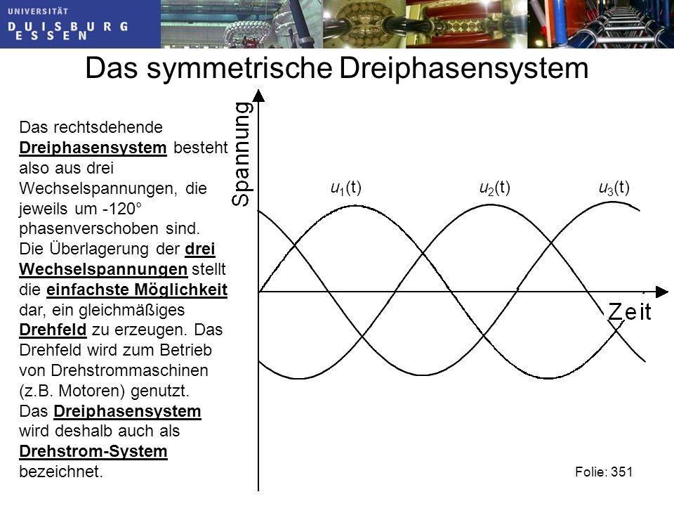u 2 (t) Das symmetrische Dreiphasensystem Folie: 351 u 1 (t)u 3 (t) Das rechtsdehende Dreiphasensystem besteht also aus drei Wechselspannungen, die jeweils um -120° phasenverschoben sind.