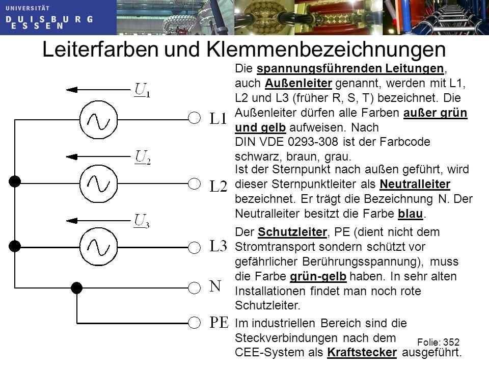 Leiterfarben und Klemmenbezeichnungen Die spannungsführenden Leitungen, auch Außenleiter genannt, werden mit L1, L2 und L3 (früher R, S, T) bezeichnet.