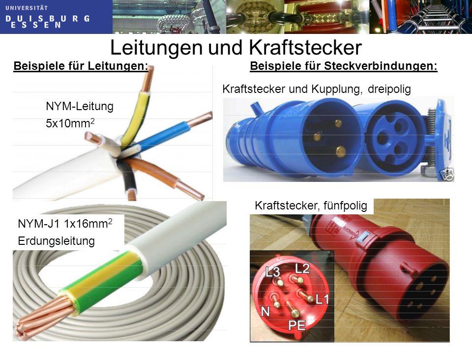 Leitungen und Kraftstecker NYM-Leitung 5x10mm 2 Folie: 353 NYM-J1 1x16mm 2 Erdungsleitung Beispiele für Leitungen:Beispiele für Steckverbindungen: Kraftstecker, fünfpolig Kraftstecker und Kupplung, dreipolig