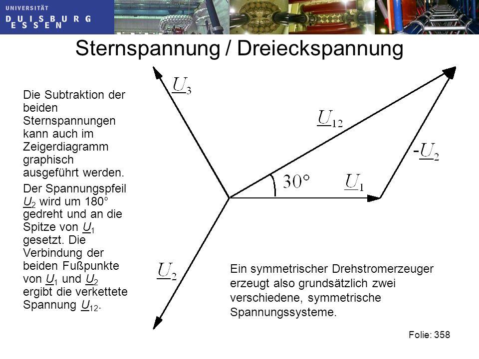 Sternspannung / Dreieckspannung Die Subtraktion der beiden Sternspannungen kann auch im Zeigerdiagramm graphisch ausgeführt werden.