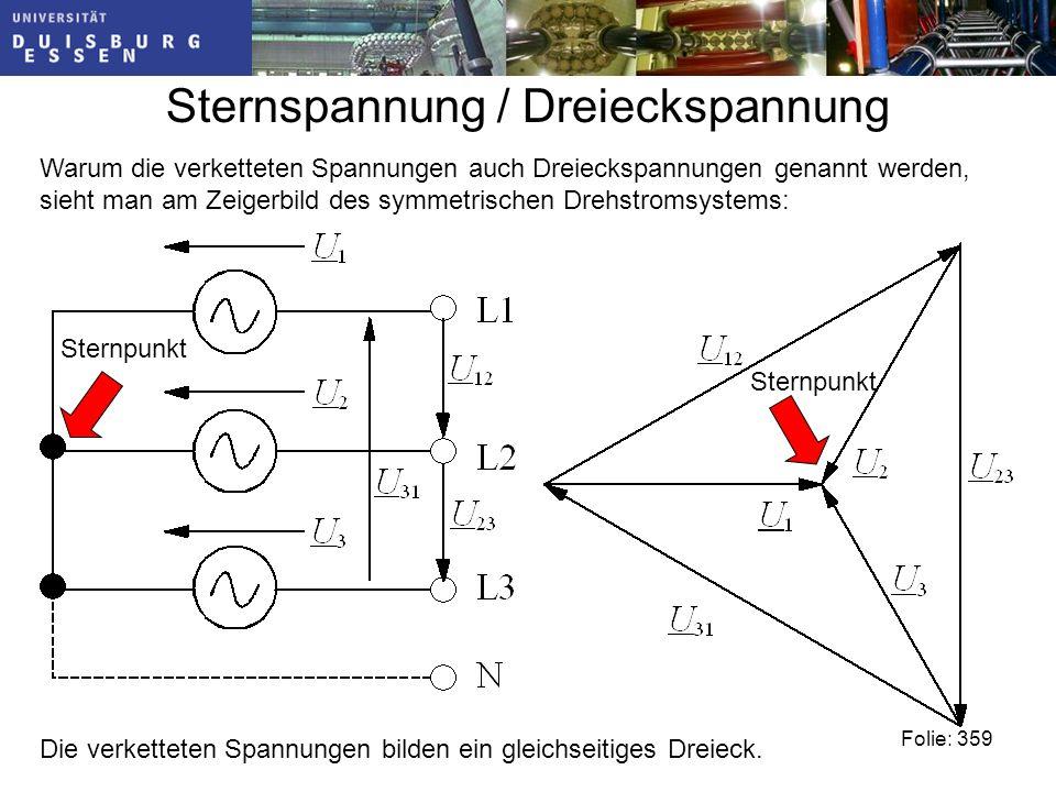 Sternspannung / Dreieckspannung Warum die verketteten Spannungen auch Dreieckspannungen genannt werden, sieht man am Zeigerbild des symmetrischen Drehstromsystems: Die verketteten Spannungen bilden ein gleichseitiges Dreieck.