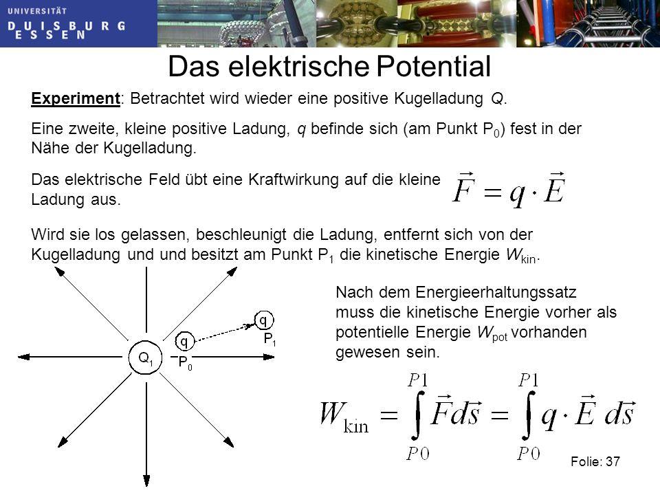 Folie: 37 Das elektrische Potential Experiment: Betrachtet wird wieder eine positive Kugelladung Q.