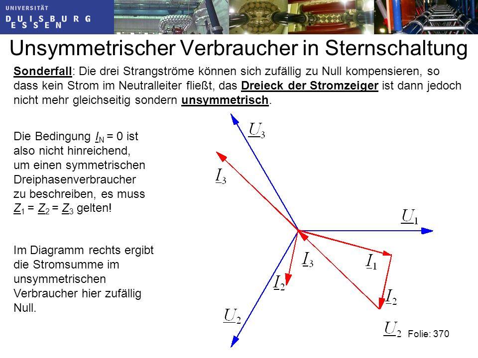 Unsymmetrischer Verbraucher in Sternschaltung Folie: 370 Sonderfall: Die drei Strangströme können sich zufällig zu Null kompensieren, so dass kein Strom im Neutralleiter fließt, das Dreieck der Stromzeiger ist dann jedoch nicht mehr gleichseitig sondern unsymmetrisch.