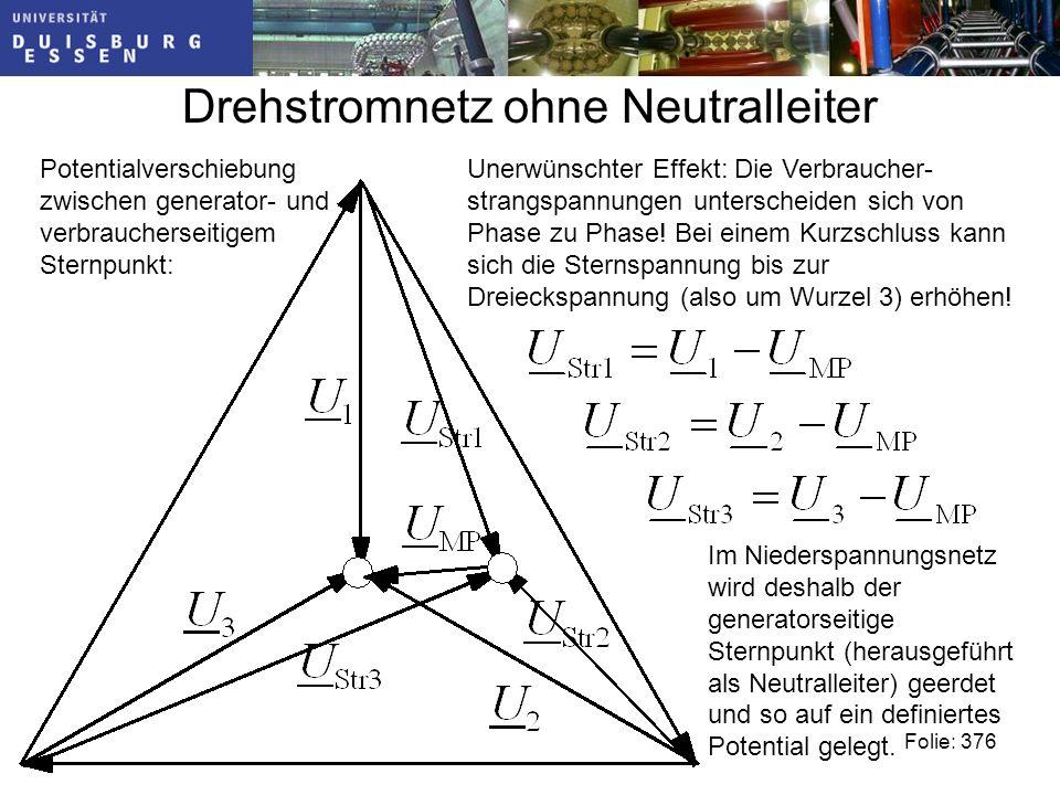 Drehstromnetz ohne Neutralleiter Potentialverschiebung zwischen generator- und verbraucherseitigem Sternpunkt: Unerwünschter Effekt: Die Verbraucher- strangspannungen unterscheiden sich von Phase zu Phase.