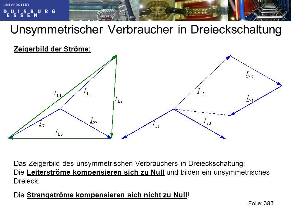 Unsymmetrischer Verbraucher in Dreieckschaltung Folie: 383 Das Zeigerbild des unsymmetrischen Verbrauchers in Dreieckschaltung: Die Leiterströme kompensieren sich zu Null und bilden ein unsymmetrisches Dreieck.