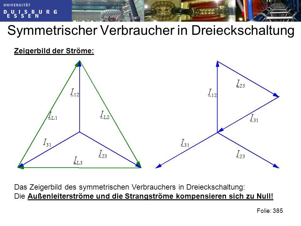 Symmetrischer Verbraucher in Dreieckschaltung Folie: 385 Das Zeigerbild des symmetrischen Verbrauchers in Dreieckschaltung: Die Außenleiterströme und die Strangströme kompensieren sich zu Null.