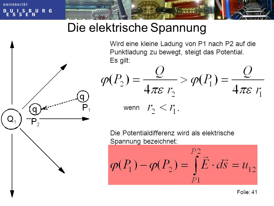 Folie: 41 Die elektrische Spannung Wird eine kleine Ladung von P1 nach P2 auf die Punktladung zu bewegt, steigt das Potential.