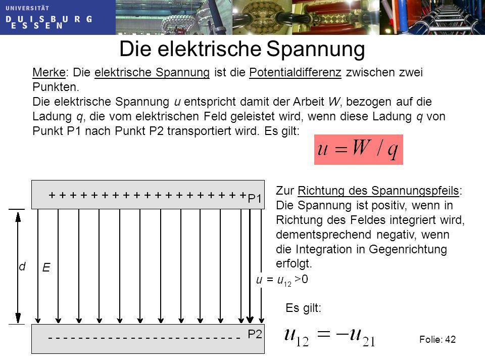 Folie: 42 Die elektrische Spannung Merke: Die elektrische Spannung ist die Potentialdifferenz zwischen zwei Punkten.