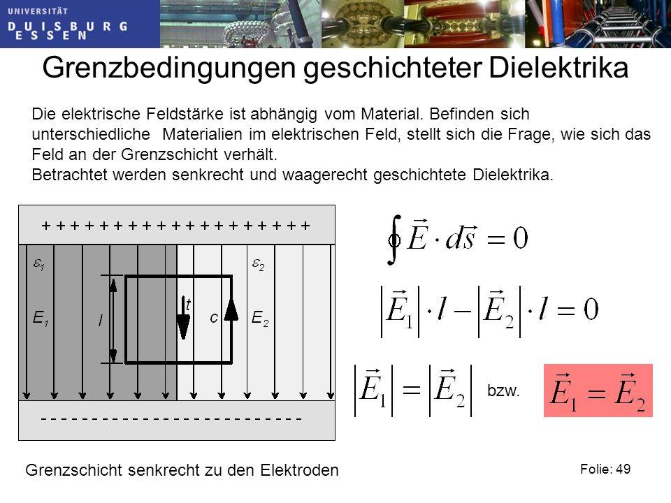 Folie: 49 Grenzbedingungen geschichteter Dielektrika Die elektrische Feldstärke ist abhängig vom Material.