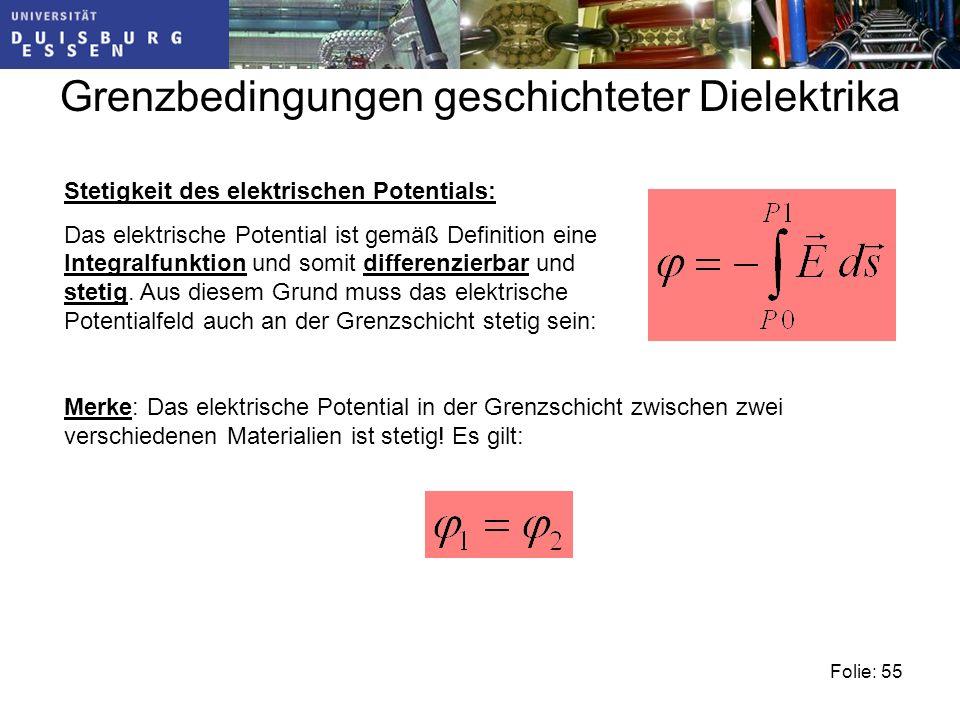 Folie: 55 Grenzbedingungen geschichteter Dielektrika Merke: Das elektrische Potential in der Grenzschicht zwischen zwei verschiedenen Materialien ist stetig.