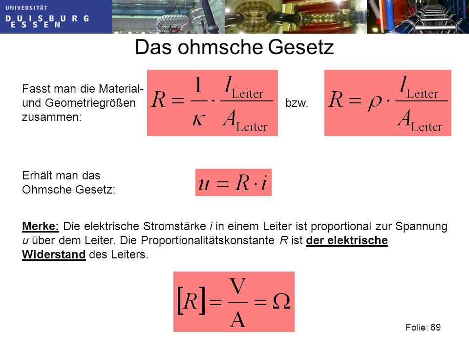 Folie: 69 Das ohmsche Gesetz Fasst man die Material- und Geometriegrößen zusammen: bzw.