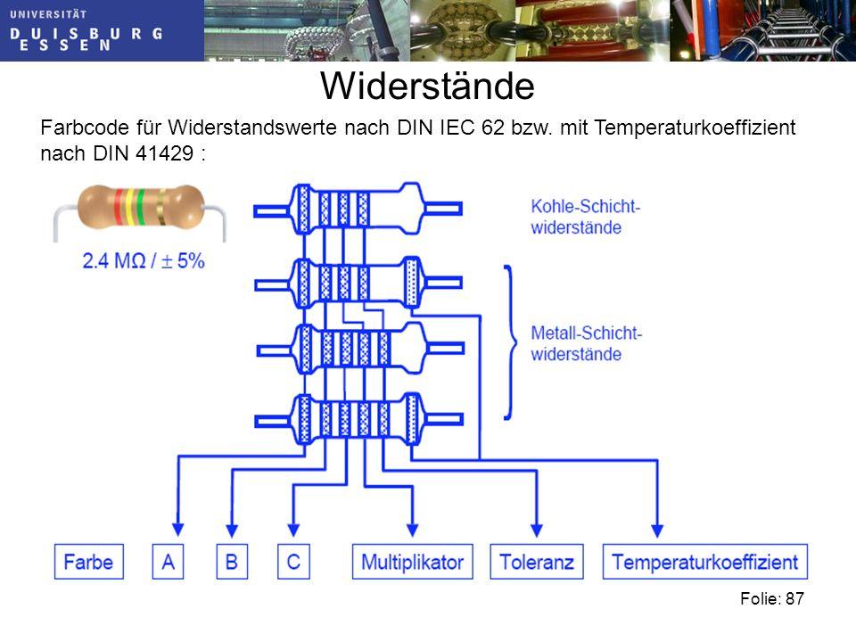 Folie: 87 Widerstände Farbcode für Widerstandswerte nach DIN IEC 62 bzw.