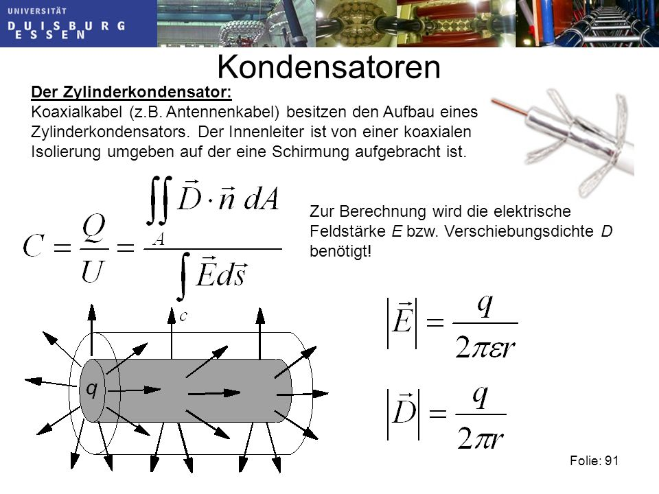 Kondensatoren Der Zylinderkondensator: Koaxialkabel (z.B.