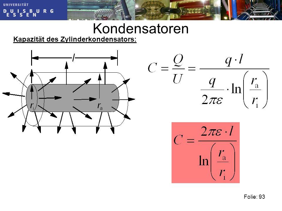 Kondensatoren Kapazität des Zylinderkondensators: Folie: 93