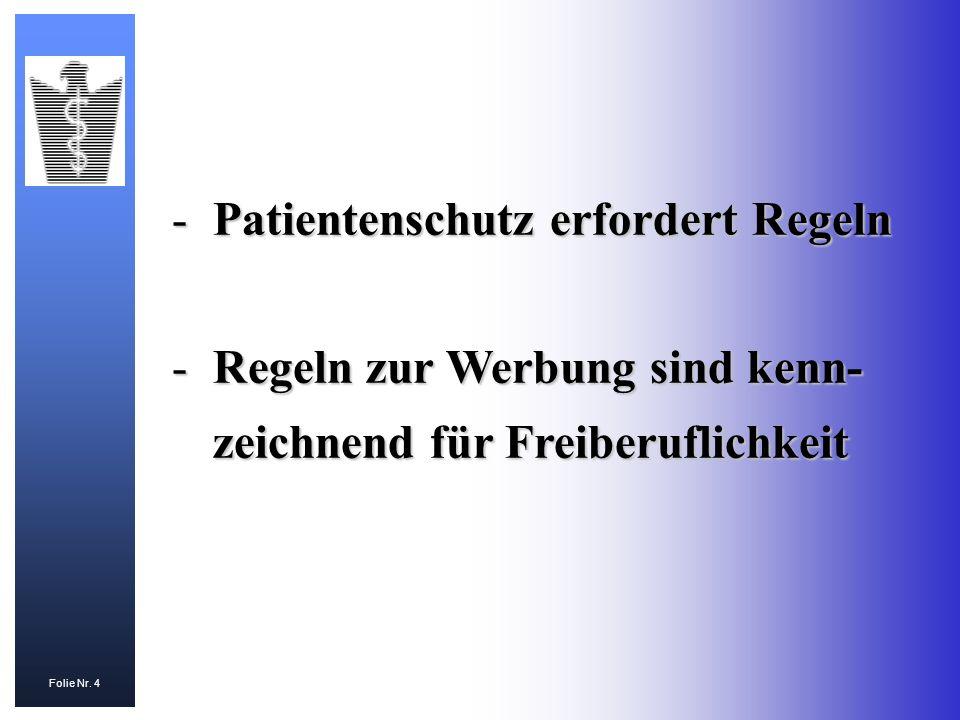 Folie Nr. 4 -Patientenschutz erfordert Regeln -Regeln zur Werbung sind kenn- zeichnend für Freiberuflichkeit