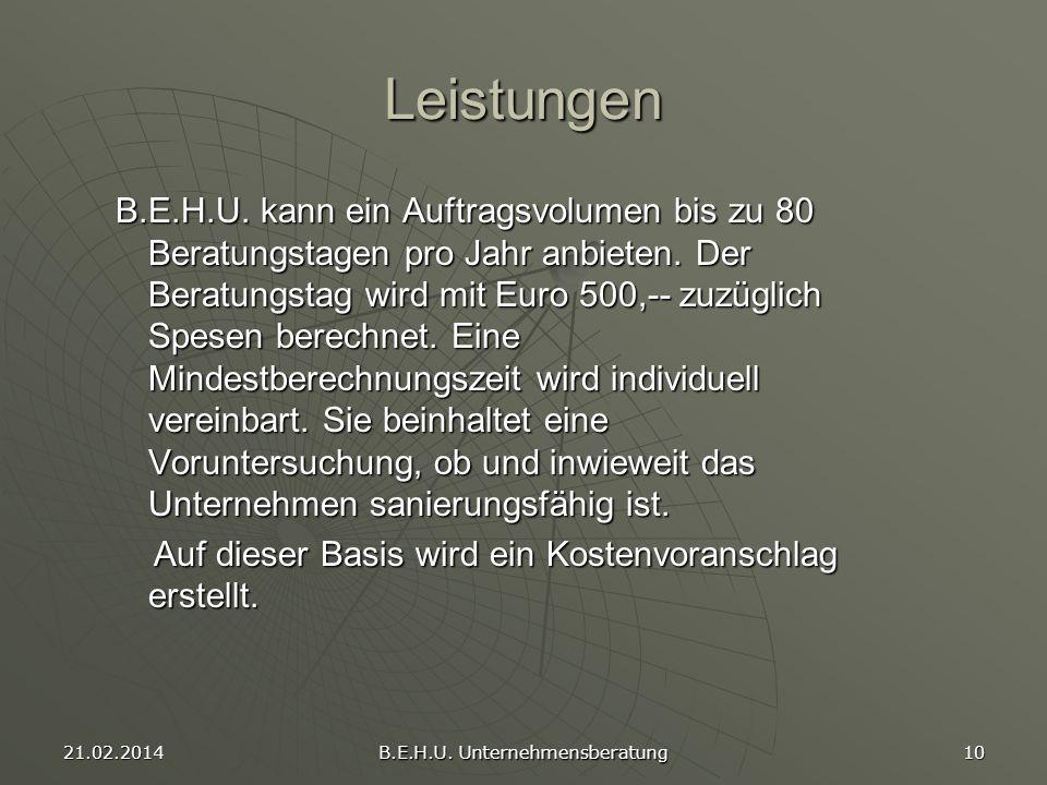 21.02.2014 B.E.H.U. Unternehmensberatung 10 Leistungen B.E.H.U. kann ein Auftragsvolumen bis zu 80 Beratungstagen pro Jahr anbieten. Der Beratungstag