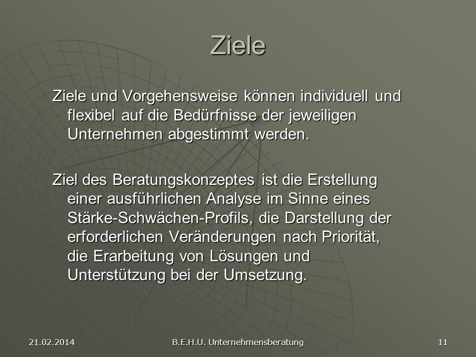 21.02.2014 B.E.H.U. Unternehmensberatung 11 Ziele Ziele und Vorgehensweise können individuell und flexibel auf die Bedürfnisse der jeweiligen Unterneh
