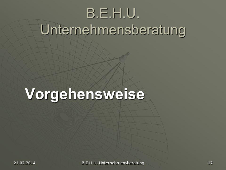 21.02.2014 B.E.H.U. Unternehmensberatung 12 B.E.H.U. Unternehmensberatung Vorgehensweise