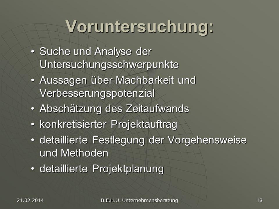 21.02.2014 B.E.H.U. Unternehmensberatung 18 Voruntersuchung: Suche und Analyse der UntersuchungsschwerpunkteSuche und Analyse der Untersuchungsschwerp