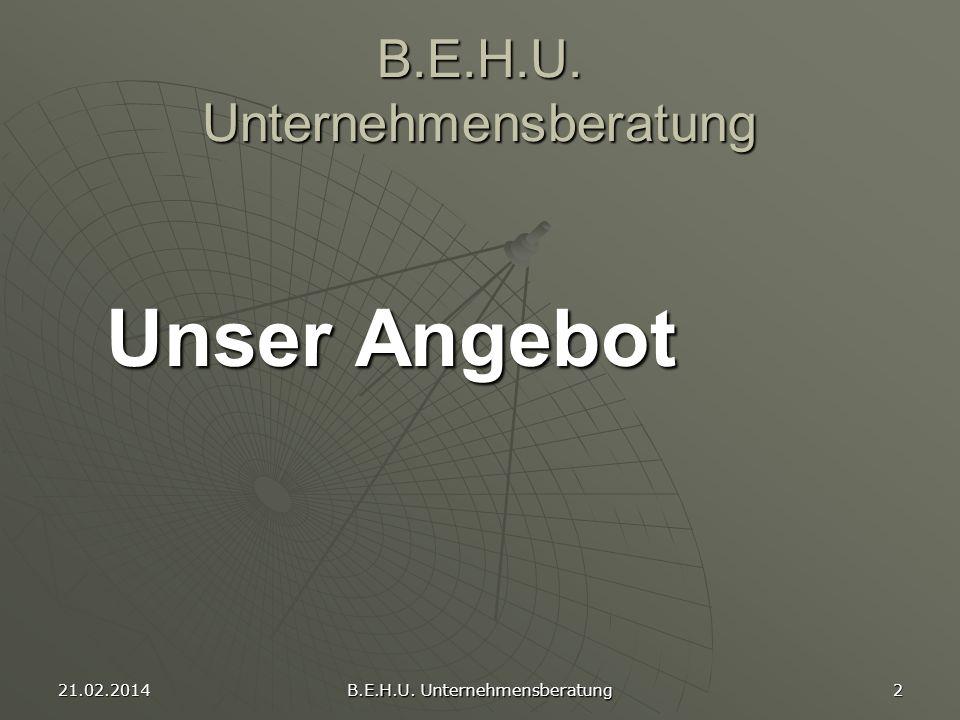 21.02.2014 B.E.H.U. Unternehmensberatung 2 Unser Angebot