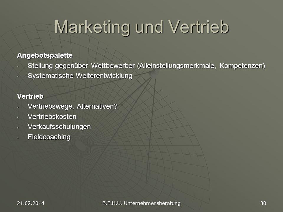 21.02.2014 B.E.H.U. Unternehmensberatung 30 Marketing und Vertrieb Angebotspalette Stellung gegenüber Wettbewerber (Alleinstellungsmerkmale, Kompetenz