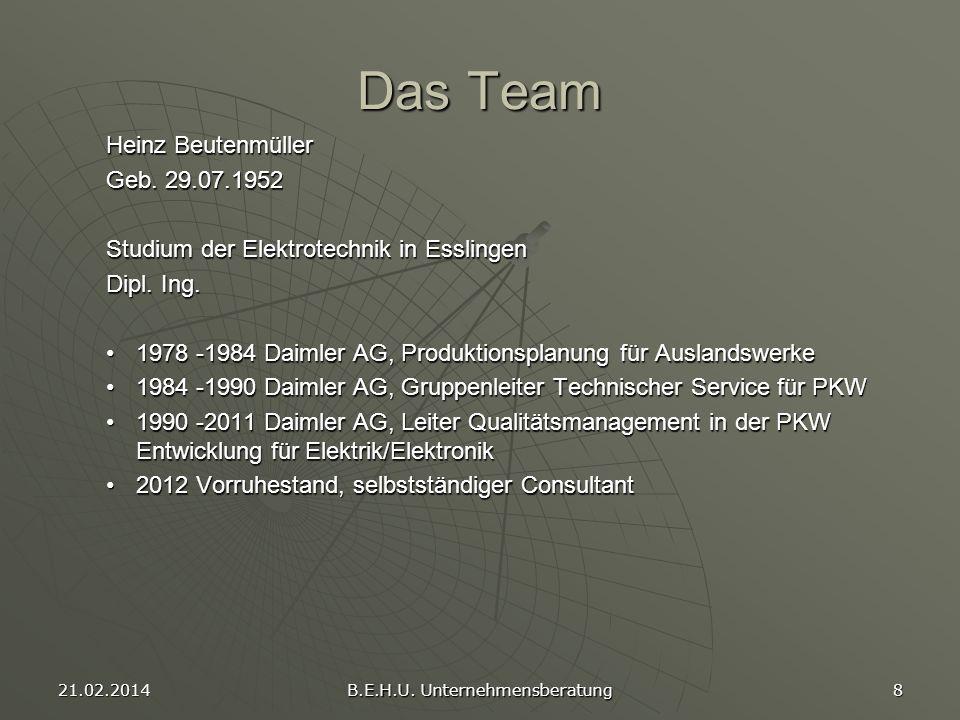 21.02.2014 B.E.H.U. Unternehmensberatung 8 Das Team Heinz Beutenmüller Geb. 29.07.1952 Studium der Elektrotechnik in Esslingen Dipl. Ing. 1978 -1984 D