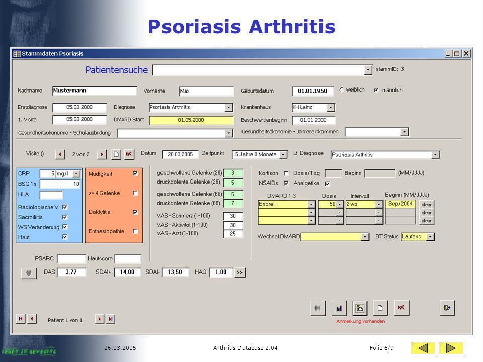 26.03.2005Arthritis Database 2.04 Folie 6/9 Psoriasis Arthritis