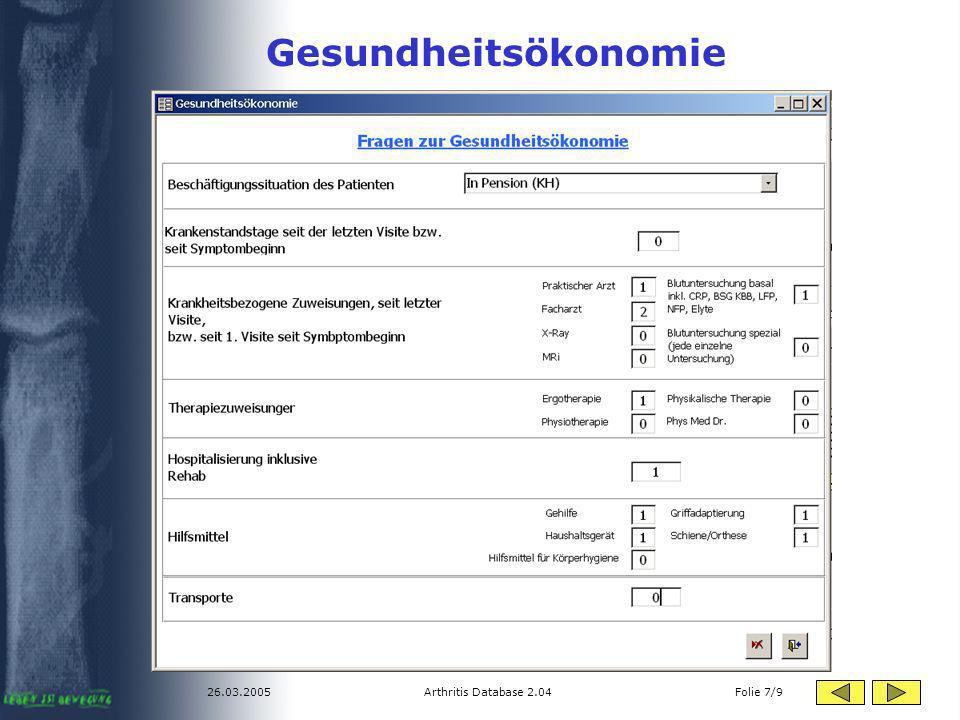 26.03.2005Arthritis Database 2.04 Folie 7/9 Gesundheitsökonomie