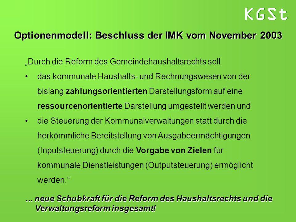 KGSt Optionenmodell: Beschluss der IMK vom November 2003 Durch die Reform des Gemeindehaushaltsrechts soll das kommunale Haushalts- und Rechnungswesen