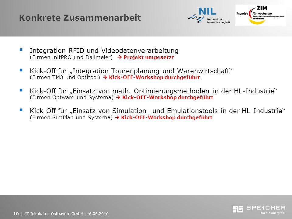 10   IT Inkubator Ostbayern GmbH   16.06.2010 Konkrete Zusammenarbeit Integration RFID und Videodatenverarbeitung (Firmen initPRO und Dallmeier) Proje