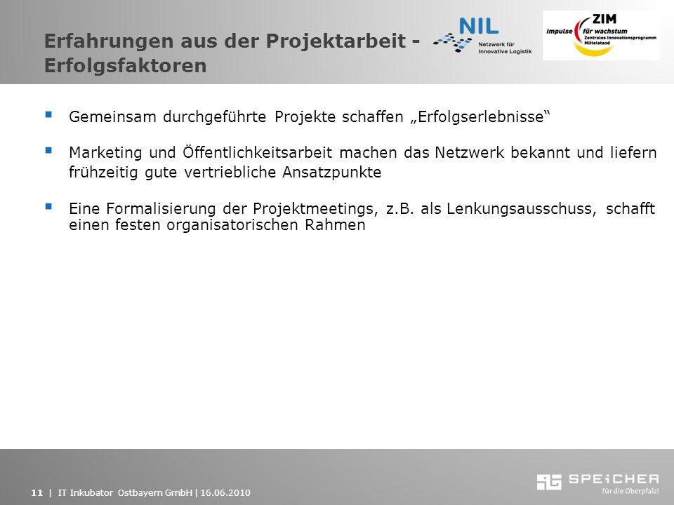 11   IT Inkubator Ostbayern GmbH   16.06.2010 Erfahrungen aus der Projektarbeit - Erfolgsfaktoren Gemeinsam durchgeführte Projekte schaffen Erfolgserl
