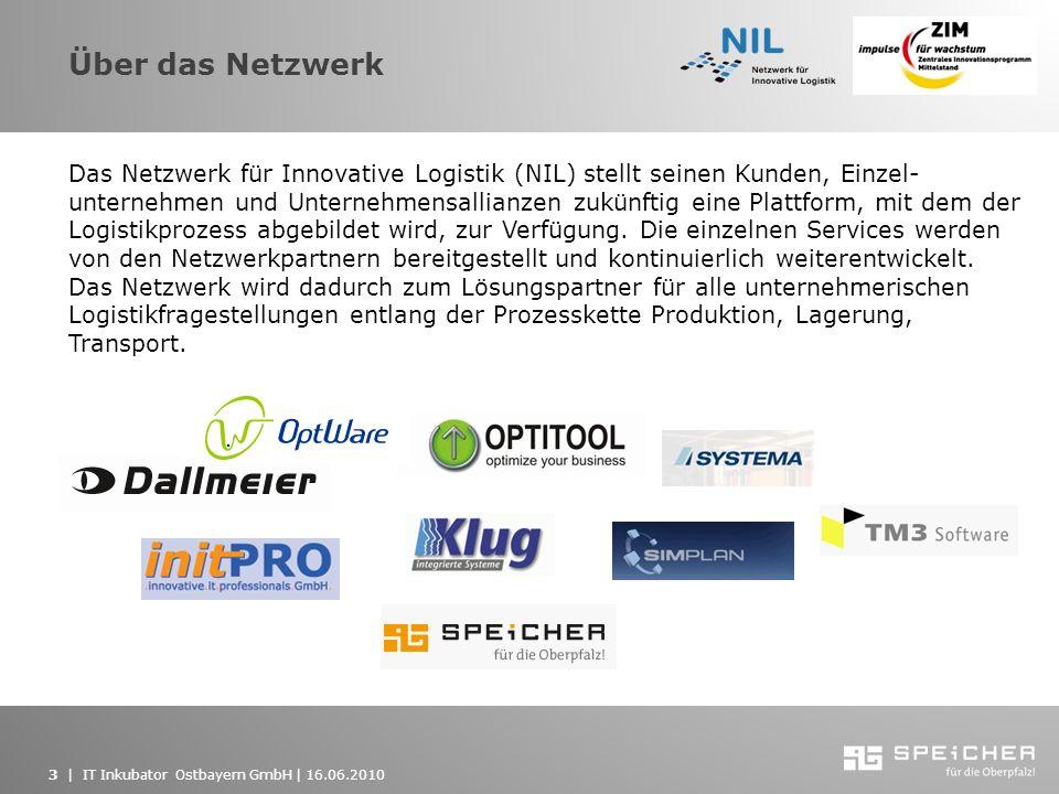3   IT Inkubator Ostbayern GmbH   16.06.2010 Über das Netzwerk Das Netzwerk für Innovative Logistik (NIL) stellt seinen Kunden, Einzel- unternehmen un