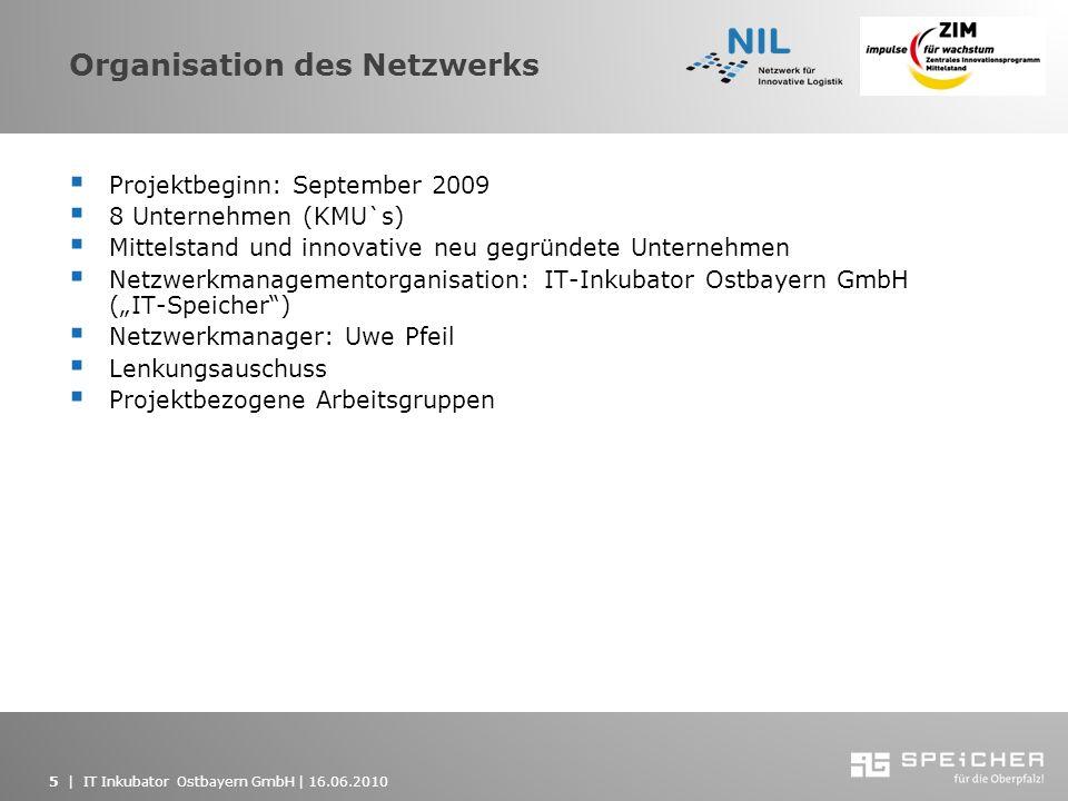 5   IT Inkubator Ostbayern GmbH   16.06.2010 Organisation des Netzwerks Projektbeginn: September 2009 8 Unternehmen (KMU`s) Mittelstand und innovative