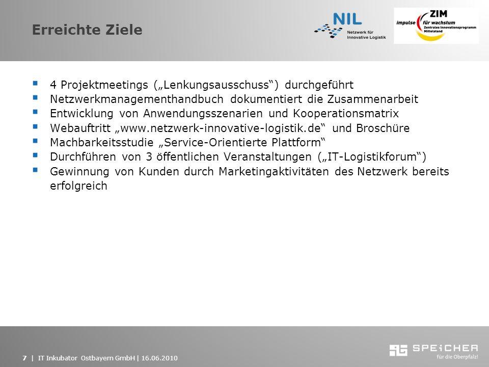 7   IT Inkubator Ostbayern GmbH   16.06.2010 Erreichte Ziele 4 Projektmeetings (Lenkungsausschuss) durchgeführt Netzwerkmanagementhandbuch dokumentier