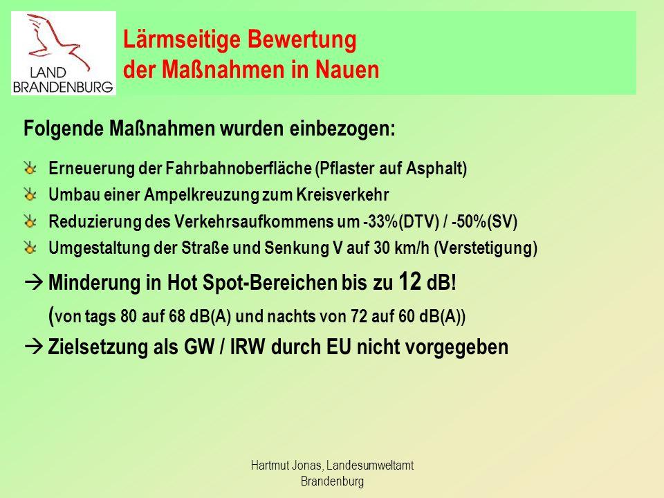 Hartmut Jonas, Landesumweltamt Brandenburg Lärmseitige Bewertung der Maßnahmen in Nauen Folgende Maßnahmen wurden einbezogen: Erneuerung der Fahrbahno