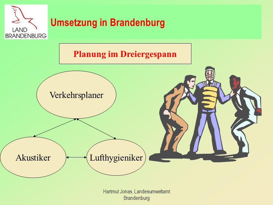 Hartmut Jonas, Landesumweltamt Brandenburg Fachübergreifende Projektgruppe Bildung der Projektgruppe Stadtverträglicher Verkehr im LUA zur gemeinsamen Bearbeitung beider Richtlinien.
