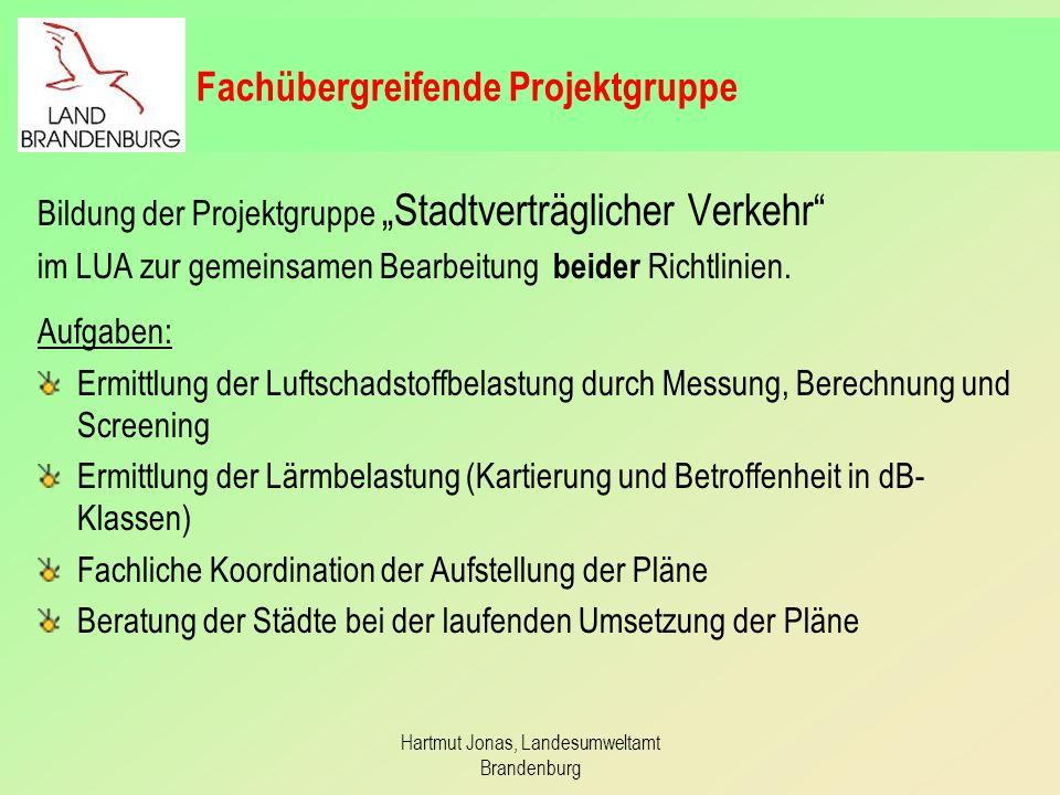 Hartmut Jonas, Landesumweltamt Brandenburg Aktuelle Arbeiten Aufstellung von drei LRP in Frankfurt(O.), Cottbus und Bernau unter Berücksichtigung der Anforderungen aus der ULR.