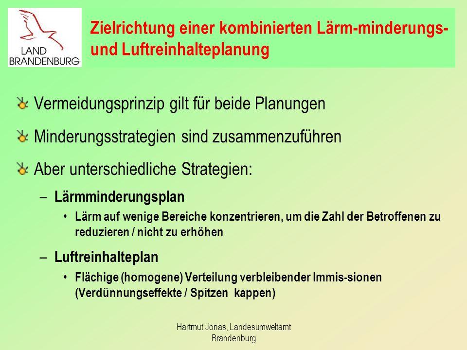Hartmut Jonas, Landesumweltamt Brandenburg Zielrichtung einer kombinierten Lärm-minderungs- und Luftreinhalteplanung Vermeidungsprinzip gilt für beide