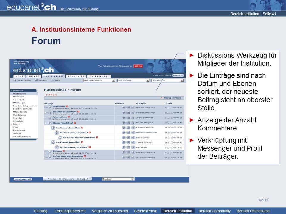 - Seite 41 Leistungsübersicht Vergleich zu educanetBereich PrivatBereich Institution Bereich CommunityEinstiegBereich Onlinekurse weiter Forum Bereich