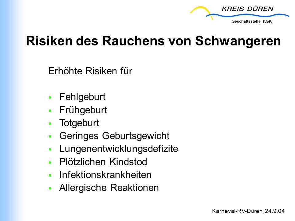 Geschäftsstelle KGK Karneval-RV-Düren, 24.9.04 Risiken des Rauchens von Schwangeren Erhöhte Risiken für Fehlgeburt Frühgeburt Totgeburt Geringes Gebur