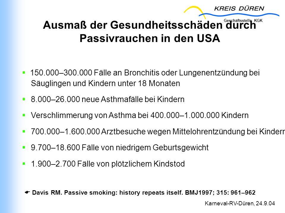 Geschäftsstelle KGK Karneval-RV-Düren, 24.9.04 Ausmaß der Gesundheitsschäden durch Passivrauchen in den USA 150.000–300.000 Fälle an Bronchitis oder L
