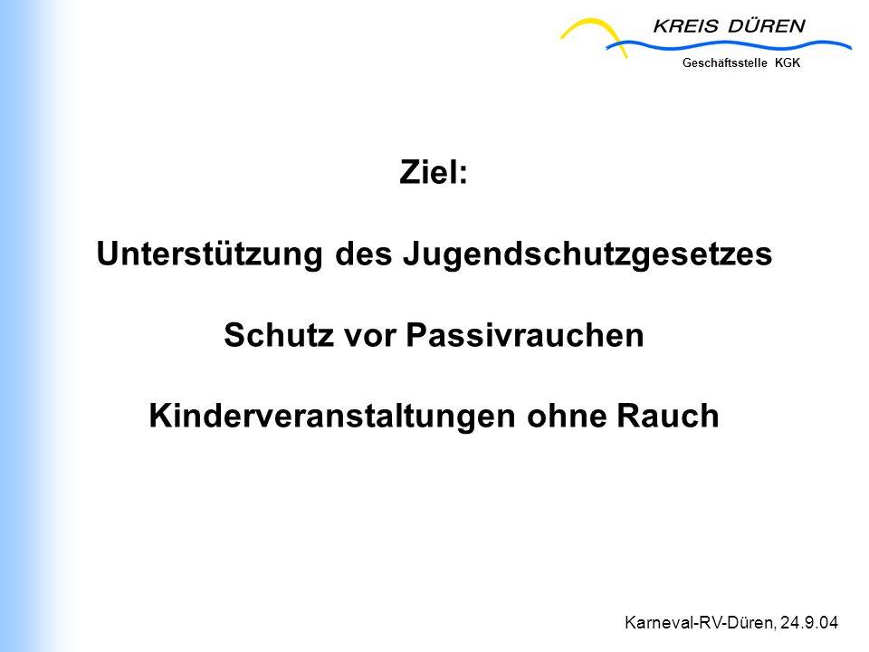 Geschäftsstelle KGK Karneval-RV-Düren, 24.9.04 Ziel: Unterstützung des Jugendschutzgesetzes Schutz vor Passivrauchen Kinderveranstaltungen ohne Rauch