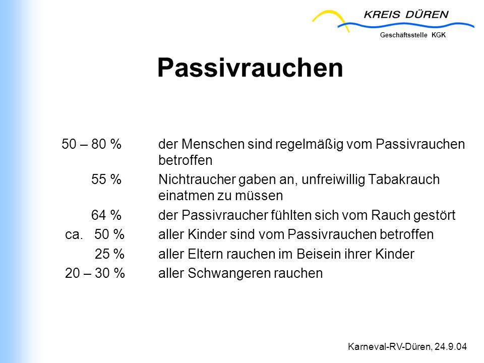 Geschäftsstelle KGK Karneval-RV-Düren, 24.9.04 Passivrauchen 50 – 80 % der Menschen sind regelmäßig vom Passivrauchen betroffen 55 % Nichtraucher gabe